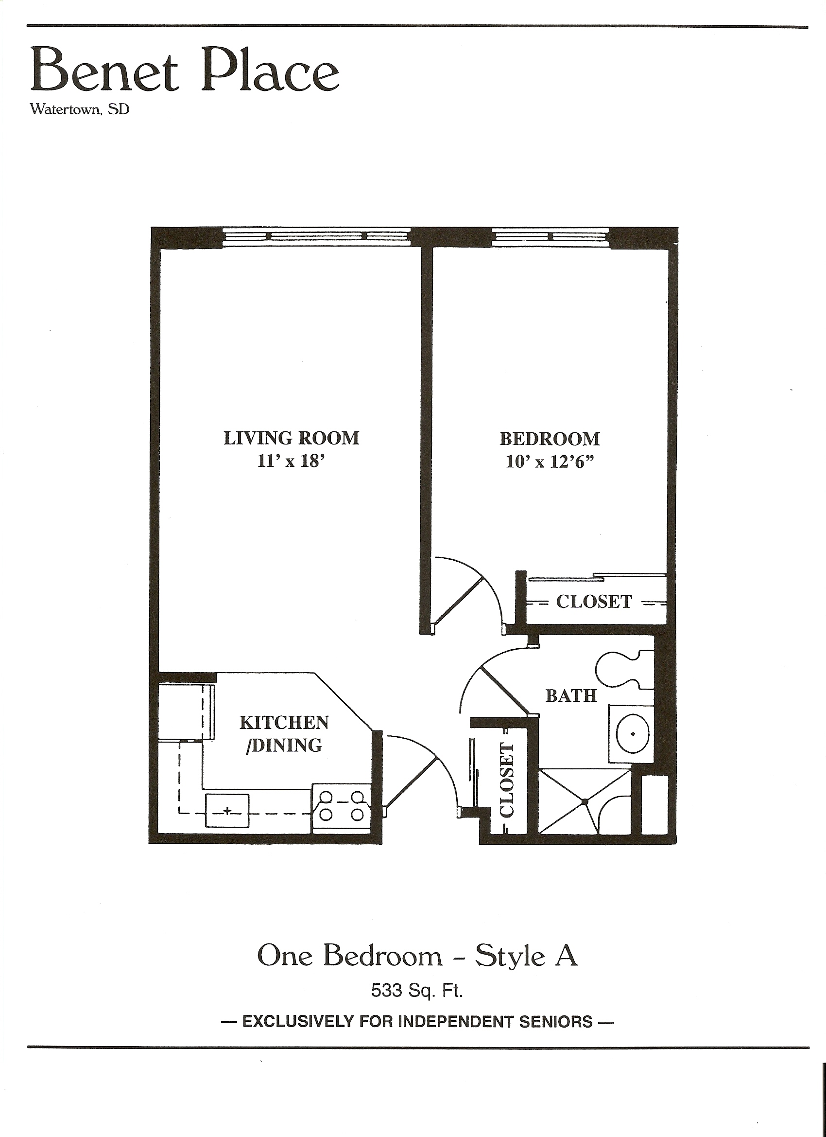 Floor plans benet place senior apartments independent for Floor plans for one bedroom apartments